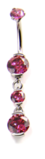 Prong-set Gem Curved Barbell with Double Dangle
