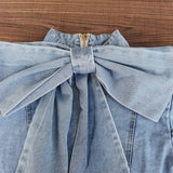 Patchwork Bow Denim Women's Jacket