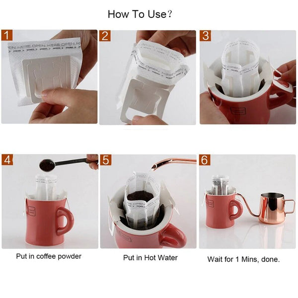 Hanging Ear Style Paper Coffee Filters