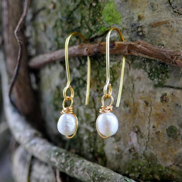 Beautiful Gold Plated Pearl Earrings - Hooked on Wire