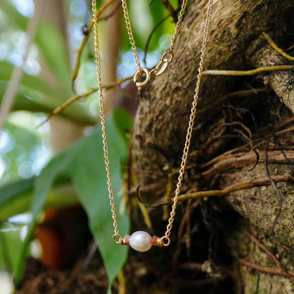 Beautiful Dainty Gold Filled Pearl Necklace - Hooked on Wire