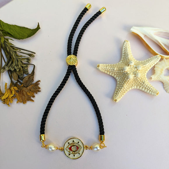 Black and Gold Evil Eye Cord Bracelet - Hooked on Wire