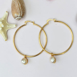 Beautiful Big Pearl Hoop Earrings - Hooked on Wire