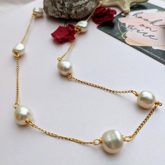 Dainty Big Pearl Chain Necklace - Hooked on Wire