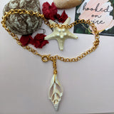 Nautical Choker Chain with Beautiful Big Open Sea Shell - Hooked on Wire