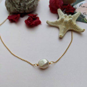 Beautiful Big Pearl Choker Necklace Chain - Hooked on Wire