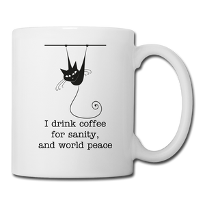 I Drink Coffee For Sanity and World Peace Mug - Hooked on Wire