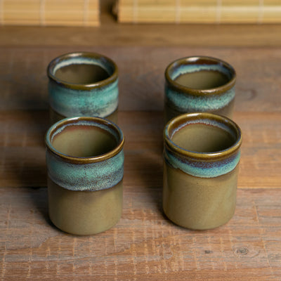 akemi cups blue ceramic seto japan hypanese