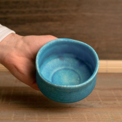 blue matcha bowl ceramic seto japan hypanese