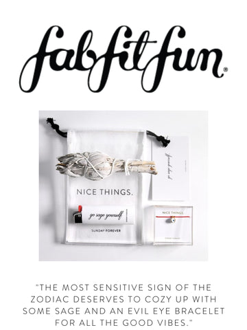 """FAB FIT FUN """"The most sensitive sign of the zodiac deserves to cozy up with some sage and an evil eye bracelet for all the good vibes."""""""