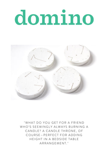 """DOMINO """"What do you get for a friend who's seemingly always burning a candle? A candle throne, of course—perfect for adding height in a bedside table arrangement."""""""
