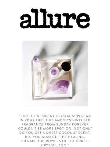 """ALLURE """"For the resident crystal superfan in your life, this Amethyst-infused fragrance from Sunday Forever couldn't be more spot-on. Not only do you get a sweet coconut scent, but you also get the healing, therapeutic powers of the purple crystal, too."""""""