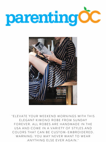 """PARENTINGCO """"Elevate your weekend mornings with this elegant Kimono Robe from Sunday Forever. All robes are handmade in the USA and come in a variety of styles and colors that can be custom-embroidered. Warning: You may never want to wear anything else ever again."""""""