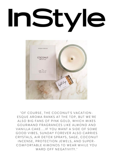 """INSTYLE  """"Of course, the Coconut's vacation-esque aroma ranks at the top, but we're also big fans of Pink Gold, which mixes gourmand fragrances like almond and vanilla cake....If you want a side of some good vibes, Sunday Forever also carries crystals, air detox sprays, sage, coconut incense, protection jewels, and super-comfortable kimonos to wear while you ward off negativity."""""""