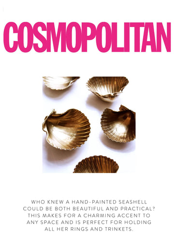 """COSMOPOLITAN  """"Who knew a hand-painted seashell could be both beautiful and practical? This makes for a charming accent to any space and is perfect for holding all her rings and trinkets."""""""