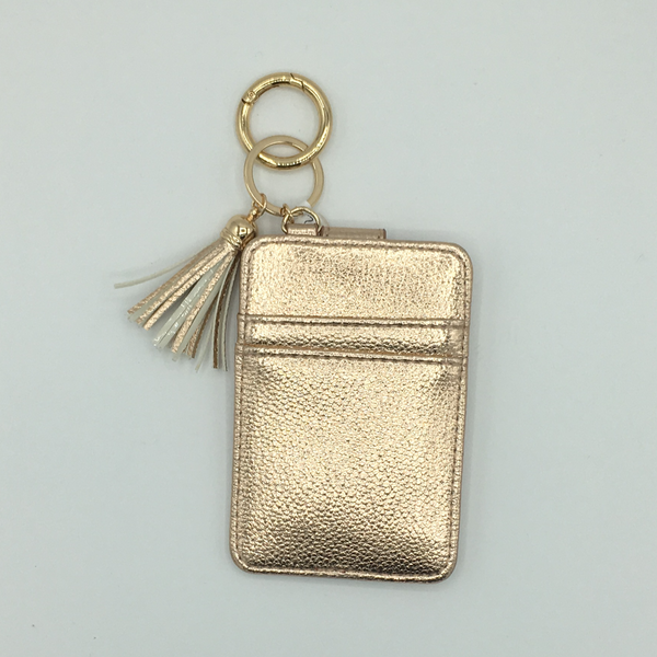 Rose Gold Card Wallet Keychain