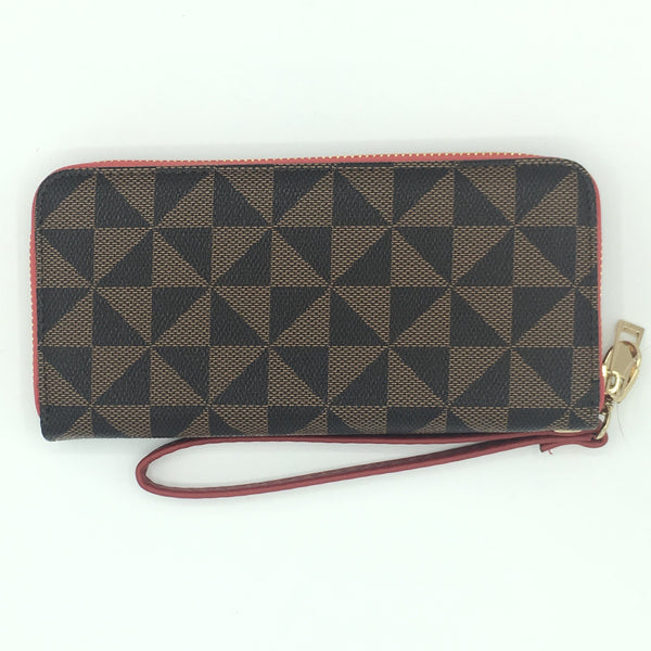 Black and Brown Triangle Print Wristlet with Red Accent