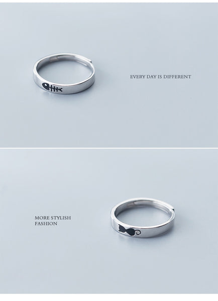 Cat & Fishbone Couple Rings