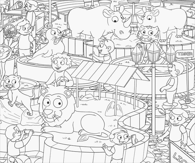 At the Zoo- Colouring Poster