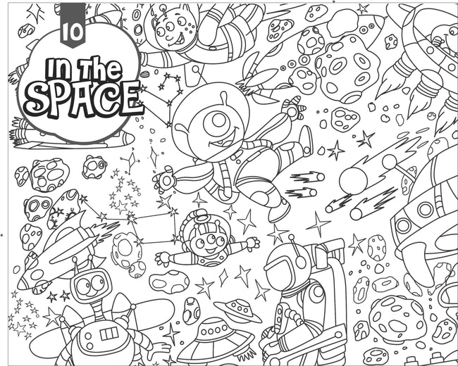 In the Space- Colouring Poster