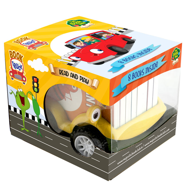 Animals in Action: Book Truck of 8 Best Board Books for Kids parked in a Truck