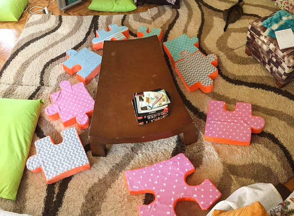 puzzle table and cushions