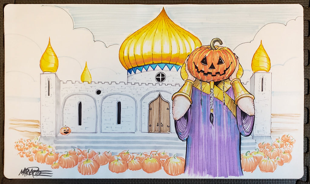 Library of Alexandria, Halloween Edition - Hand Drawn & Signed by Artist - MTG Playmat