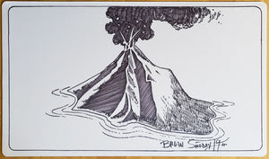 Volcanic Island - Hand Drawn & Signed by Artist - MTG Playmat