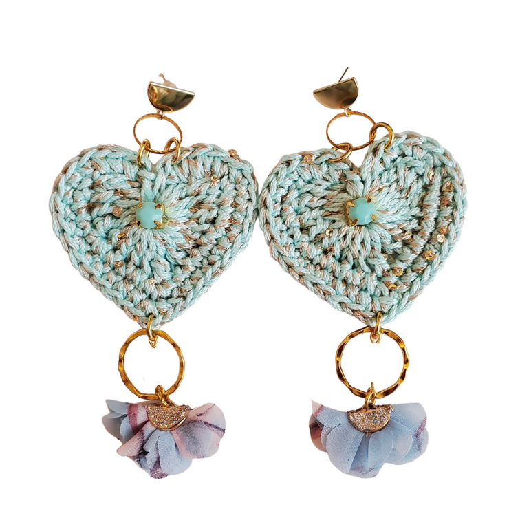 Crocheted Hearts in Aqua Earrings-Made to order
