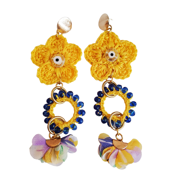 Crocheted Yellow Flower Earrings-made to order
