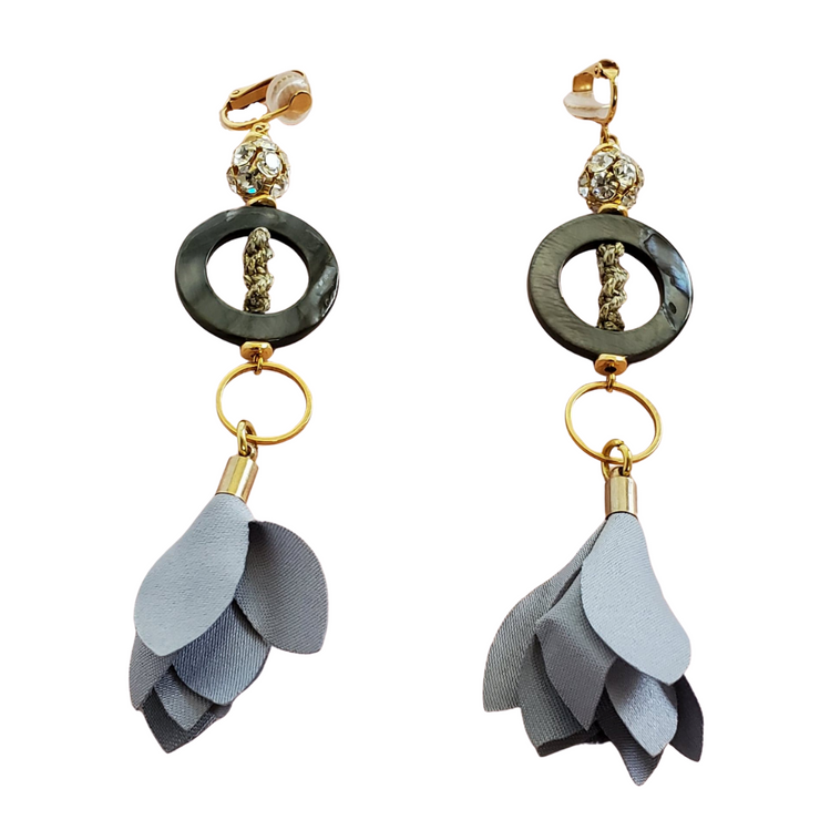 Grey Flowers On Mother Of Pearl Earrings-Earrings-Next Door Goddess