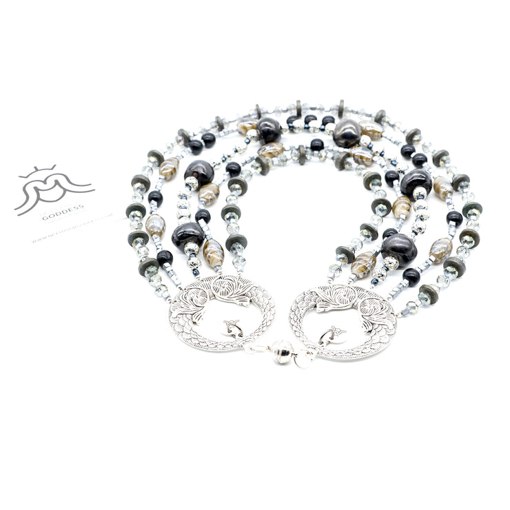 Hera Dramatic Multi-Strand Silver Necklace