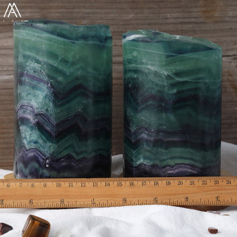 Natural Rainbow Fluorite Stone Light Lamp Decoration
