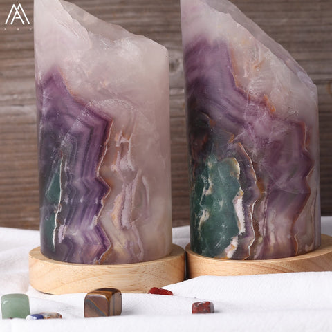 Image of Natural Rainbow Fluorite Stone Light Lamp Decoration