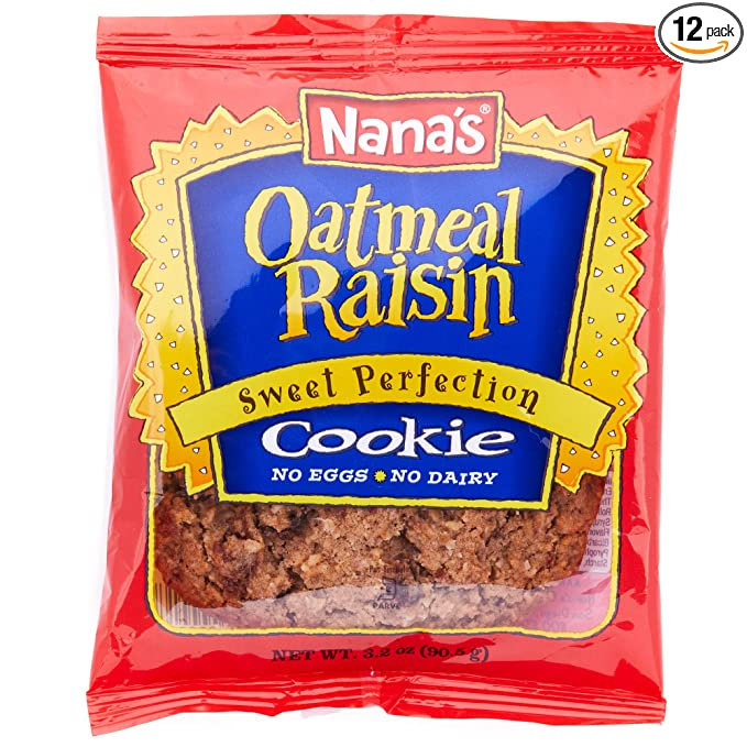 Nana's Oatmeal Raisin Cookies - No Eggs or Dairy, Vegan Cookies - Case (3.5 Ounce - 12 Pack)