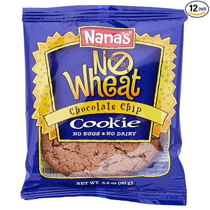 Nana's No Wheat Chocolate Chip Cookies - No Eggs, Dairy or Wheat, Vegan Cookies - Case (3.5 Ounce - 12 Pack)