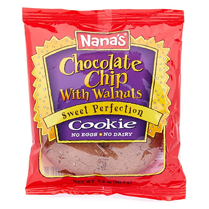 Nana's Chocolate Chip with Walnuts Cookies- No Eggs or Dairy, Vegan Cookies - Case (3.2 Ounce - Pack of 12 Bags)