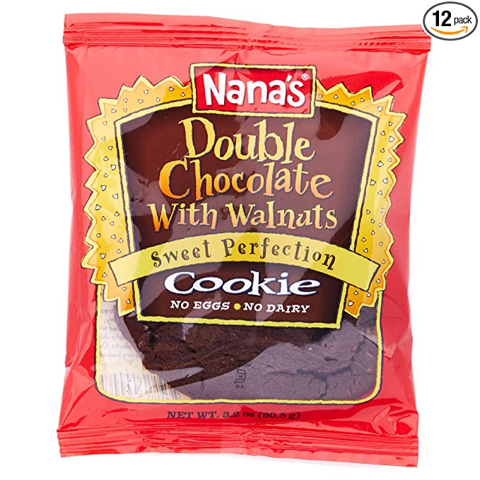 Nana's Double Chocolate Cookies - No Eggs or Dairy, Vegan Cookies - Case (3.2 Ounce - 12 Pack)