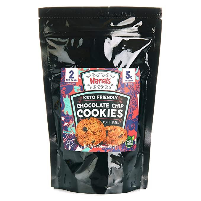Nana's Keto Chocolate Chip Cookies - Keto Friendly Cookies, No Gluten, Grain, or Preservatives -  (7 Ounce - Bag)