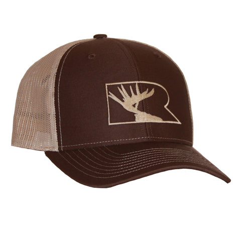 Rogue Outfitters Antlers Trucker Hat - Chocolate/Tan