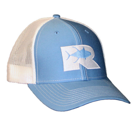 Rogue Tuna Trucker Hat - Columbia Blue/White