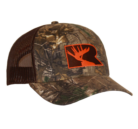 Rogue Outfitters Antlers Trucker Hat - Camo/Chocolate with Orange Stitching