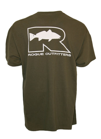 Rogue Redfish Logo LS T-Shirt - Bayou/White