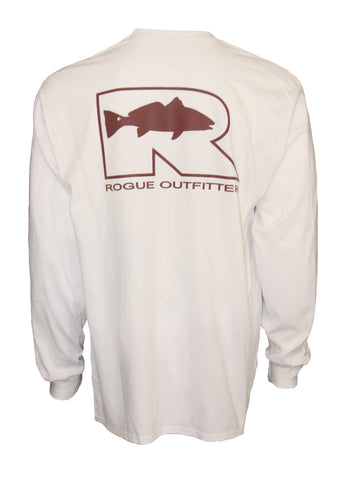 Rogue Redfish Logo LS T-Shirt - White/Crimson