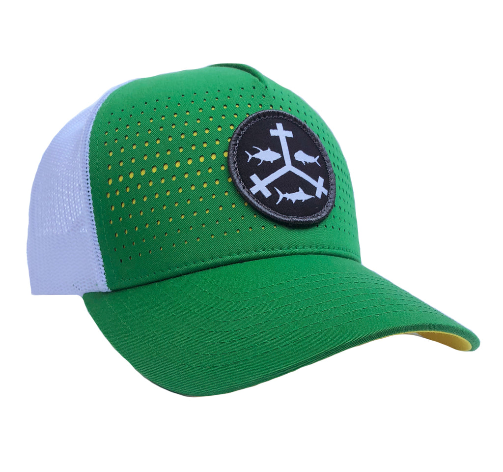 Rogue Outfitters Offshore Trifrecta Trucker Hat (Green, Yellow and White)
