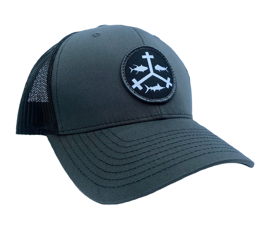 436355567851c Rogue Outfitters Offshore Trifrecta Trucker Hat (Charcoal and Black ...