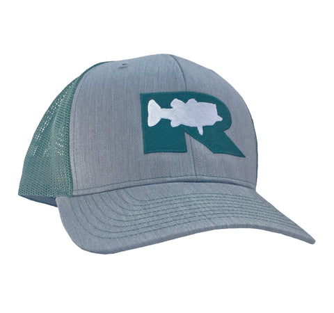 Rogue Bass Trucker Hat - Grey/Hunter Green