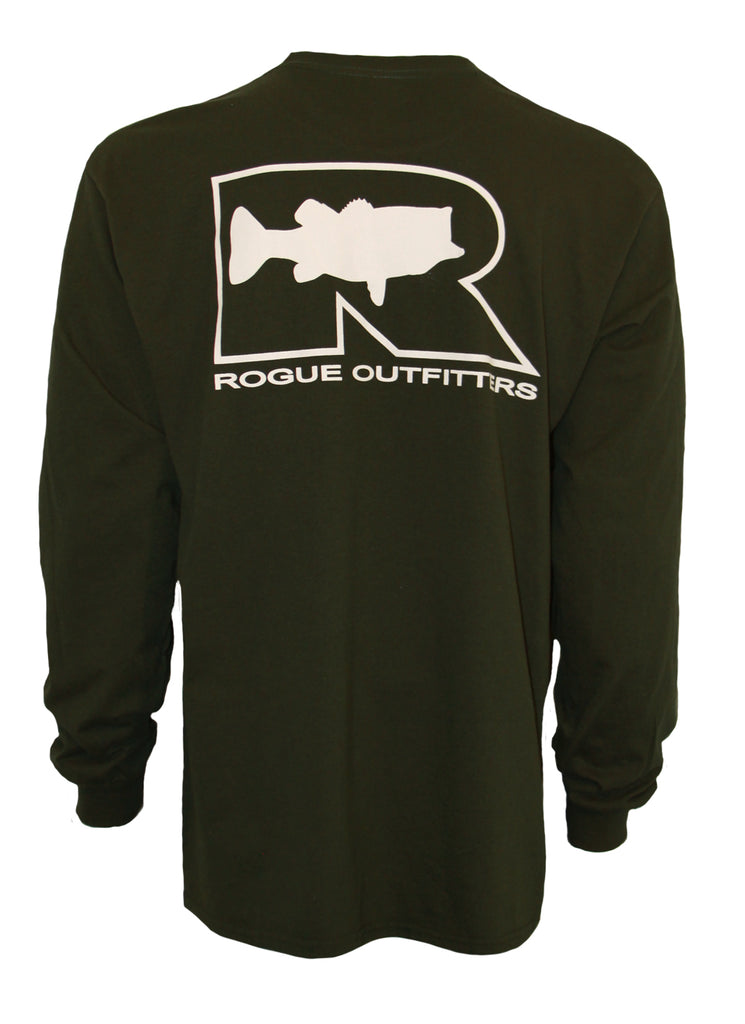 Rogue Bass Logo LS T-Shirt - Forest Green/White