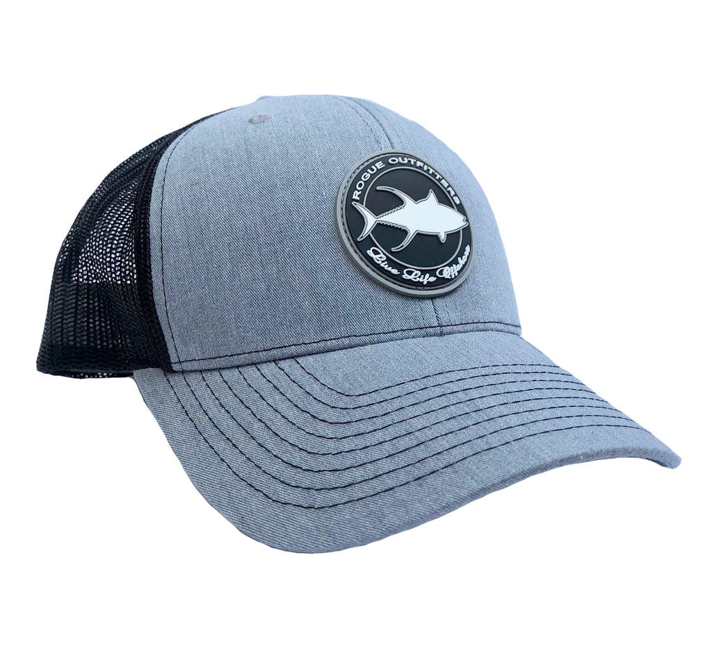 Rogue Outfitters Tuna Patch Trucker Hat (Heather Grey and Black)