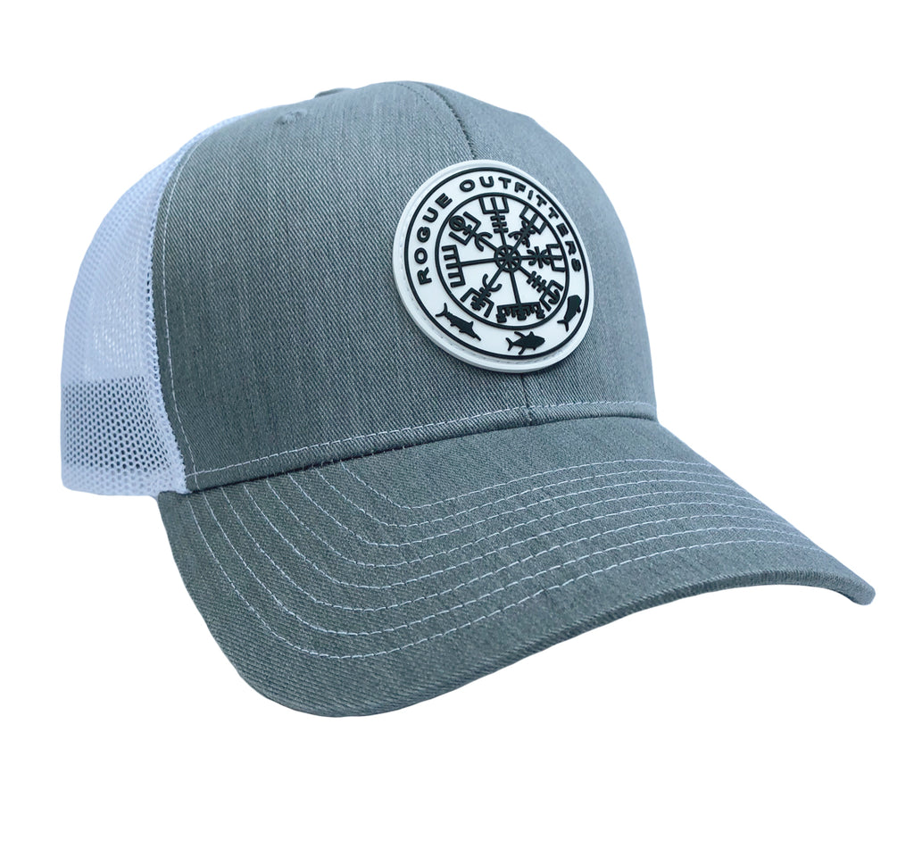Rogue Outfitters Viking Compass Patch Trucker Hat (Heathered Grey and White)